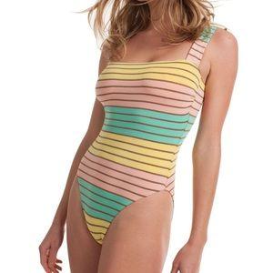 EUC Trina Turk metallic striped one piece swim- 10